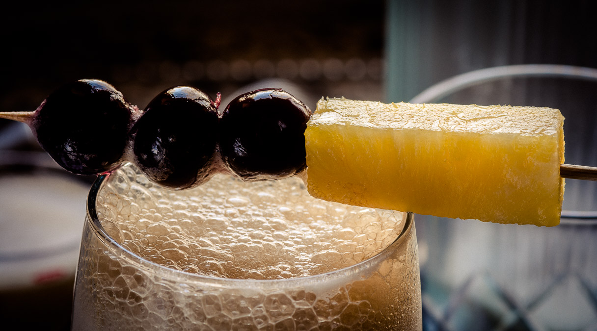 Three Dots and a Dash Cocktail garnish (detail), photo © 2015 Douglas M. Ford. All rights reserved.