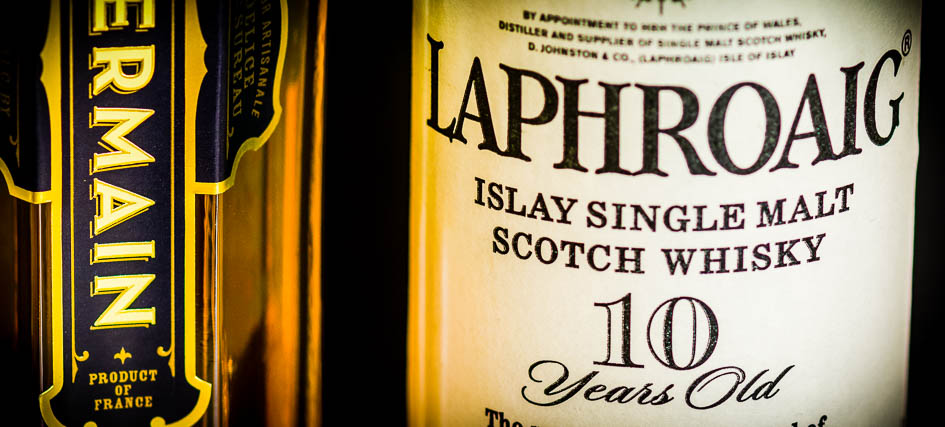 Laphroaig and St. Germain labels (detail), photo © 2016 Douglas M. Ford. All rights reserved.